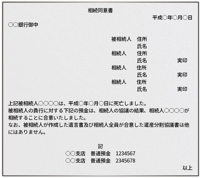 預金口座の相続同意書の文例