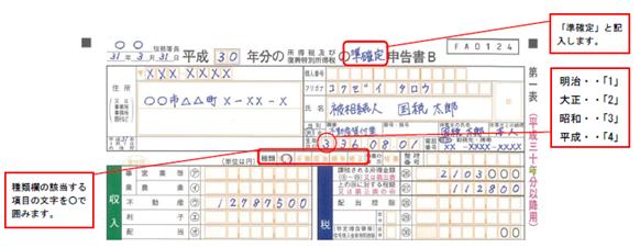 準確定申告第一表記載例(相続人や包括受遺者が2人以上のとき)