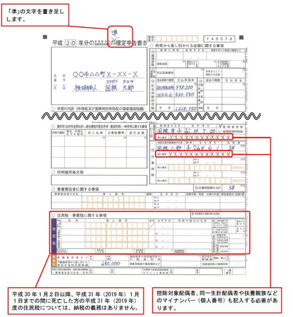 準確定申告第二表の記載例