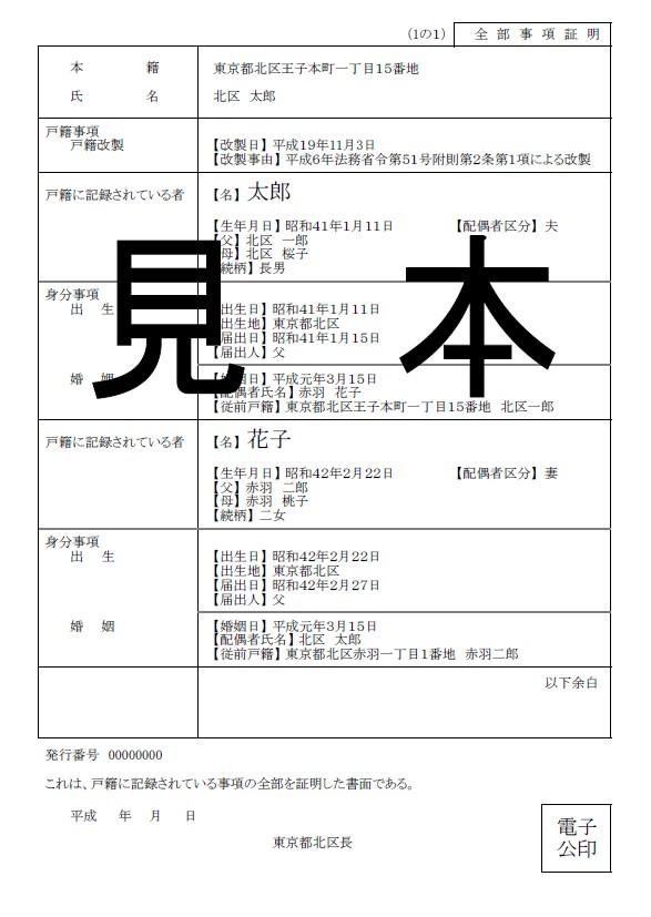 新しい戸籍謄本の書式例