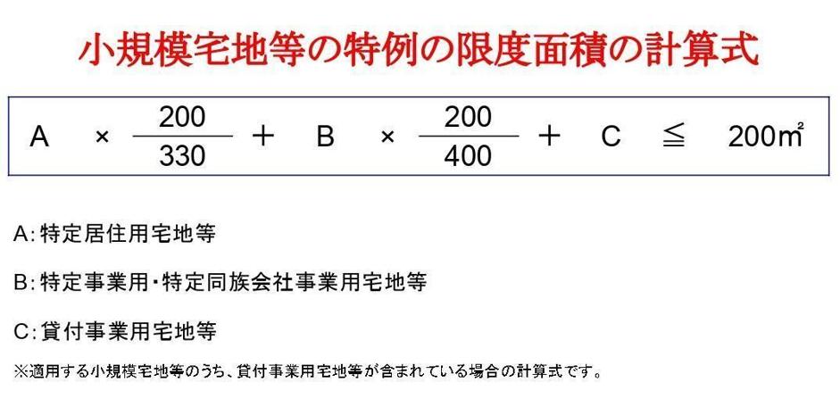 小規模宅地等の特例の限度面積の計算式